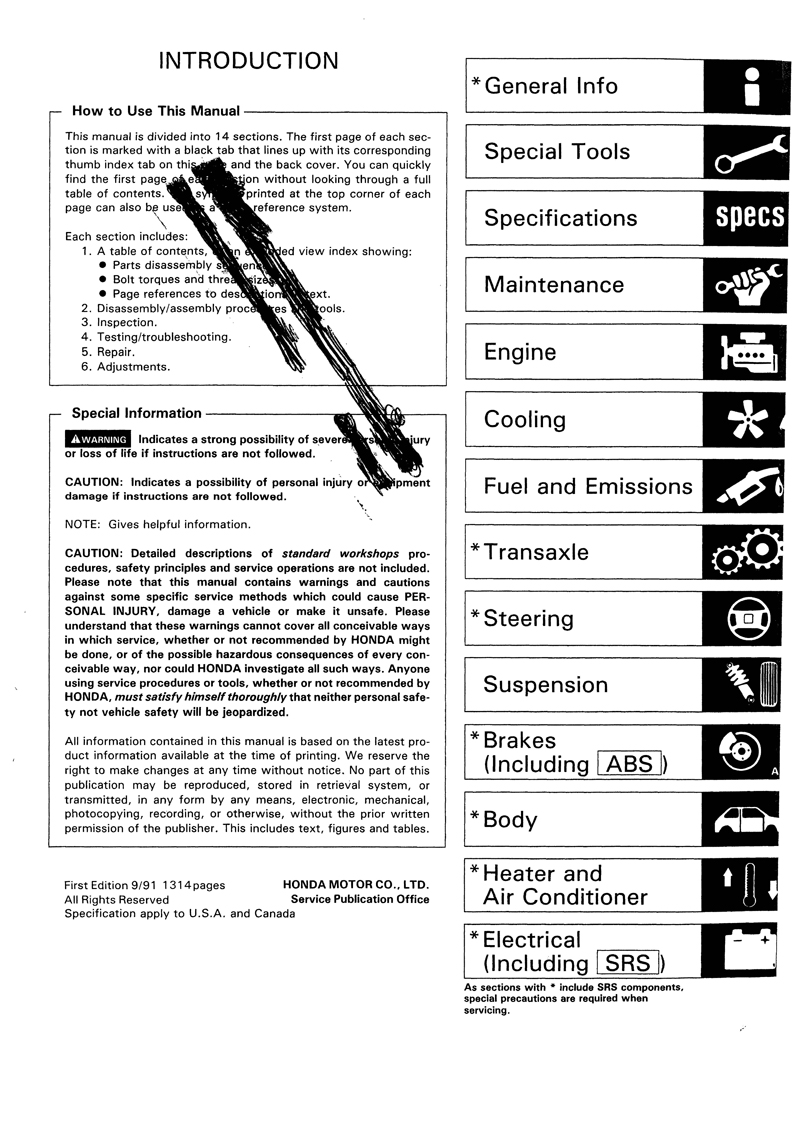 Honda Civic Service Manual 1992 1995 Downloads Hatchback