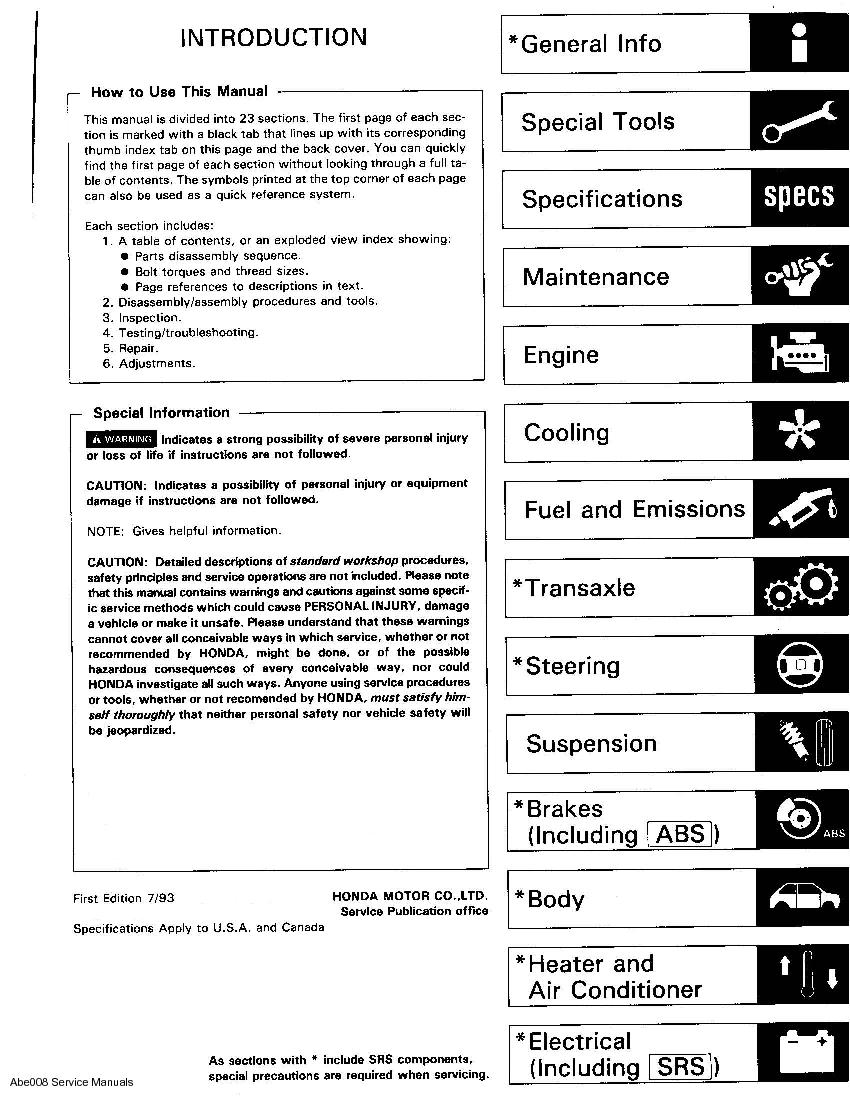 Acura Integra 1994 - 2000 Service Manual - Downloads